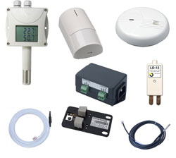 Temperature, humidity, voltage, AC current, air-flow, flood, smoke, power presence detection, water leak detection, open door detector, air flow, entry to the room